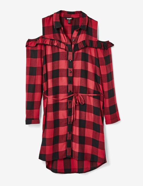 Red and black cold shoulder dress