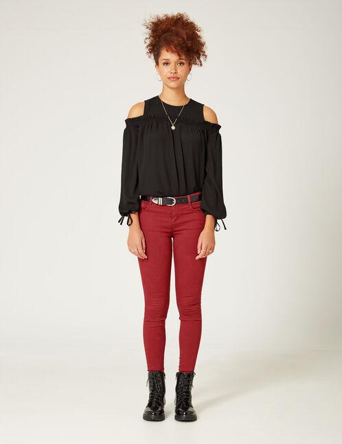 Dark red skinny push-up trousers