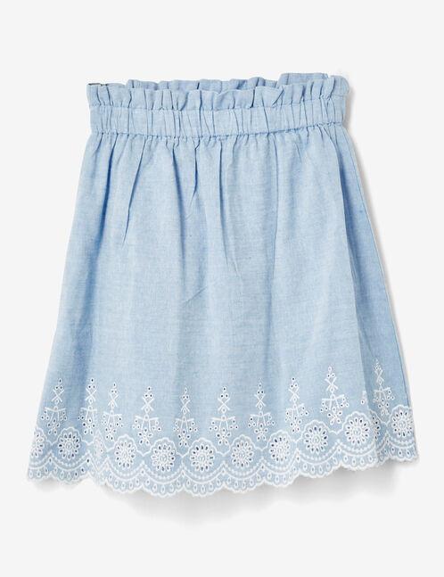 jupe ajourée bleu clair