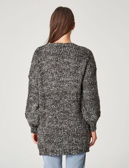 gilet long avec lurex gris anthracite chiné