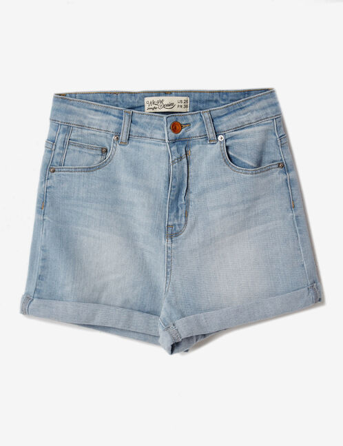 Bleached denim turn-up shorts