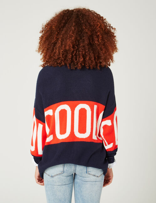 "Navy blue, red and cream ""cool"" jumper"