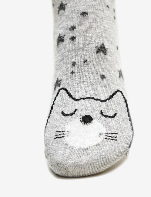 chaussettes motif chat noires, roses et grises