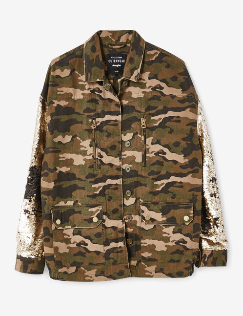 Khaki camouflage jacket with sequined sleeves