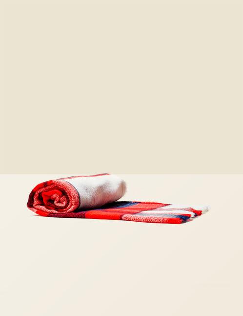 écharpe à carreaux rouge, jaune et écrue