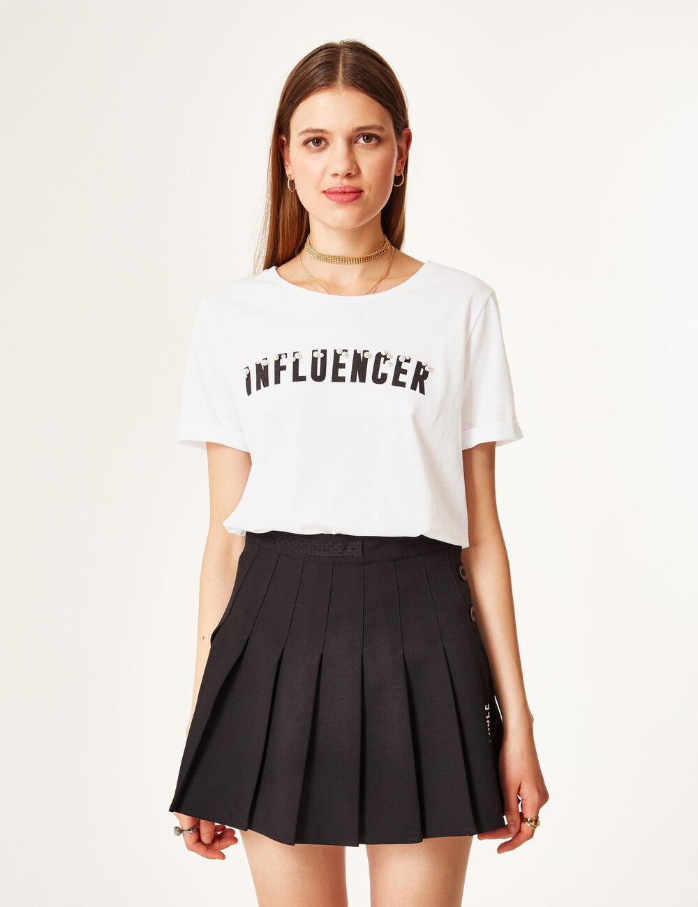 tee shirt message blanc femme jennyfer. Black Bedroom Furniture Sets. Home Design Ideas
