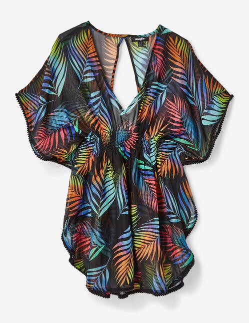 Black tropical beach tunic