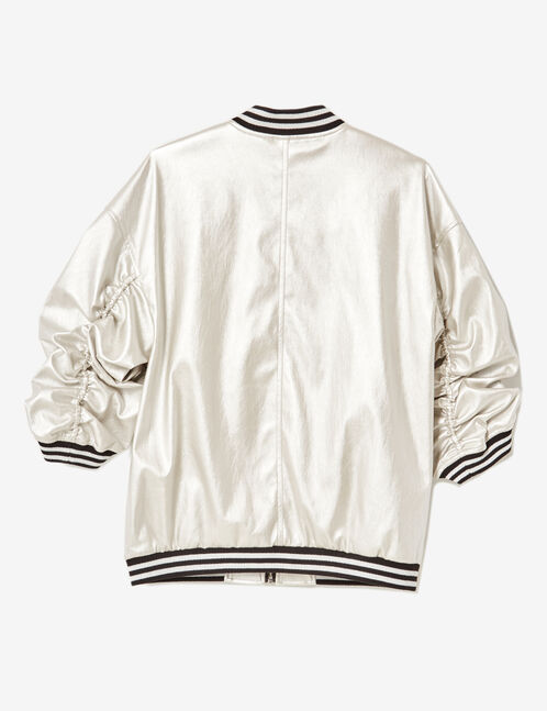 Silver faux leather bomber jacket
