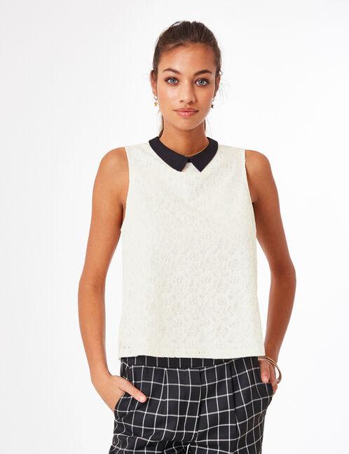 blouse dentelle avec col écrue