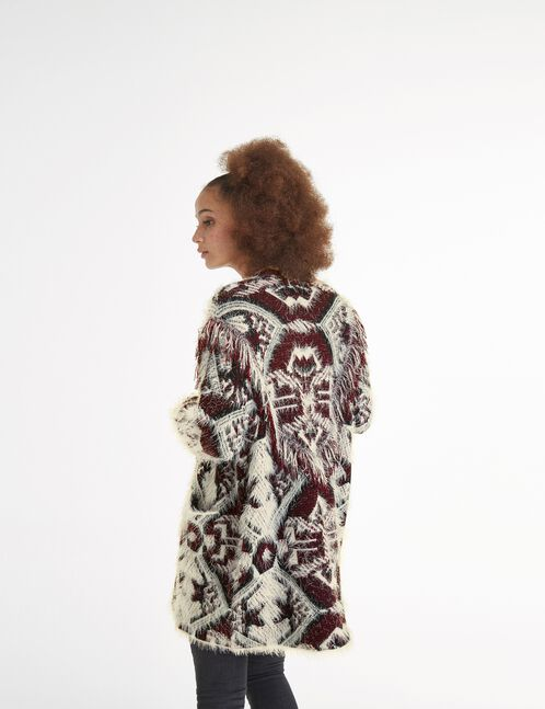 Cream, black and burgundy mohair-effect cardigan