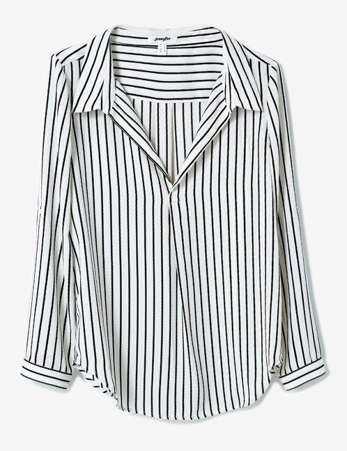 blouse rayé en mousseline écrue et noire