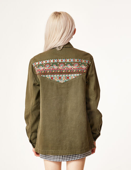 Khaki jacket with embroidery and beading details