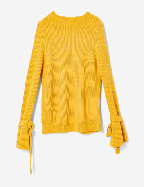 pull manches avec liens ocre