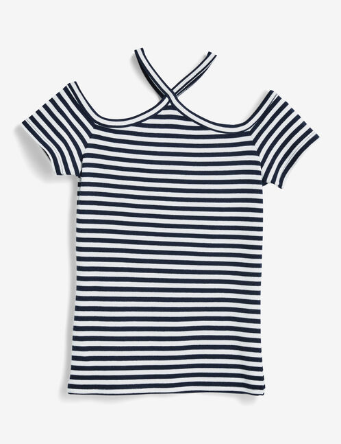 Navy blue and cream striped wrap T-shirt