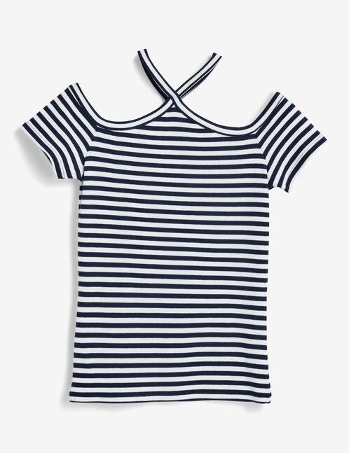 tee-shirt rayé et croisé bleu marine et écru