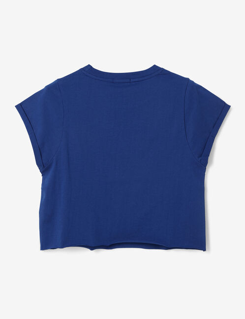 Blue crop top with text design detail