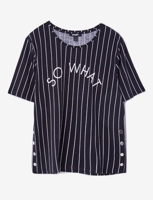 tee-shirt rayé à message noir et blanc