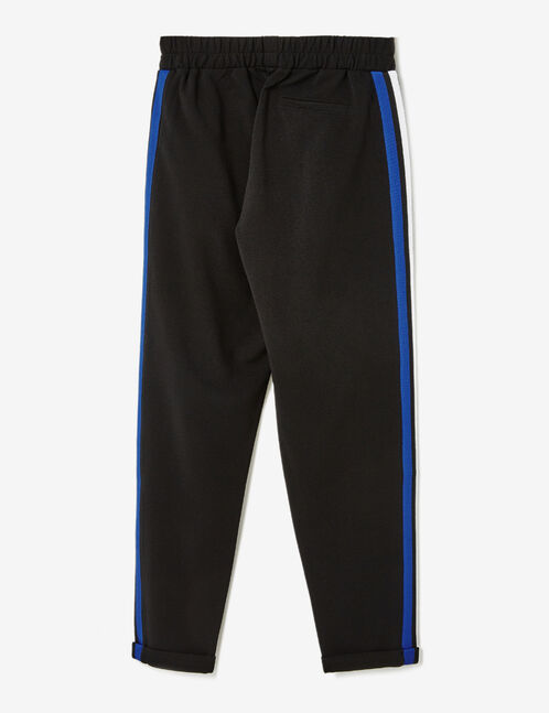 Black and blue joggers with striped side trim detail