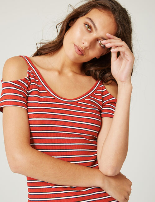 Red, black and white striped top