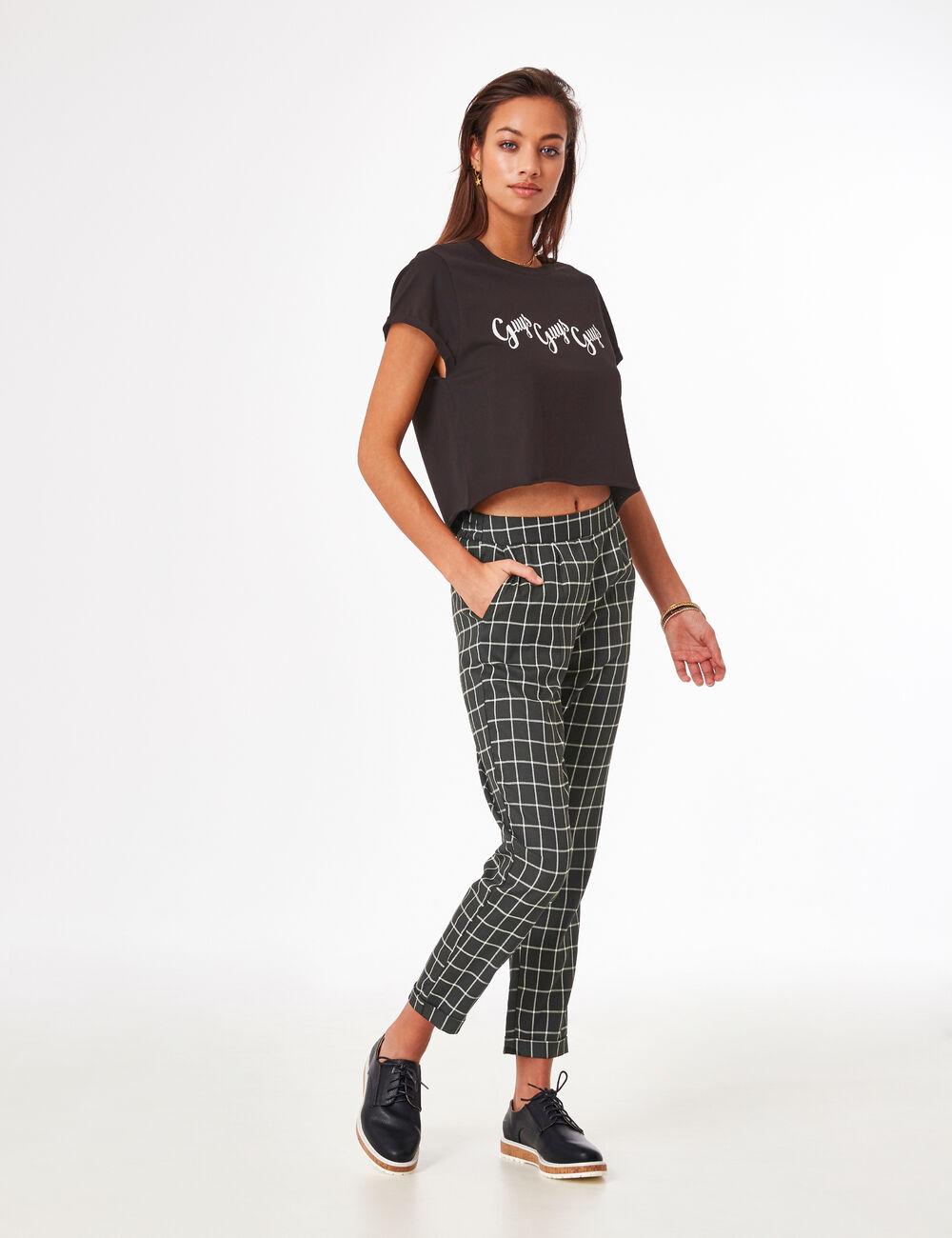 Pantalon ville carreaux noir femme jennyfer for Pantalon a carreaux