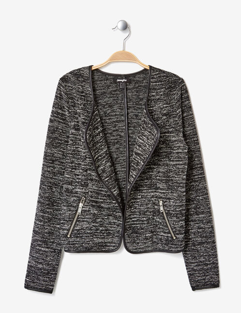 Black and white marl open-front jacket