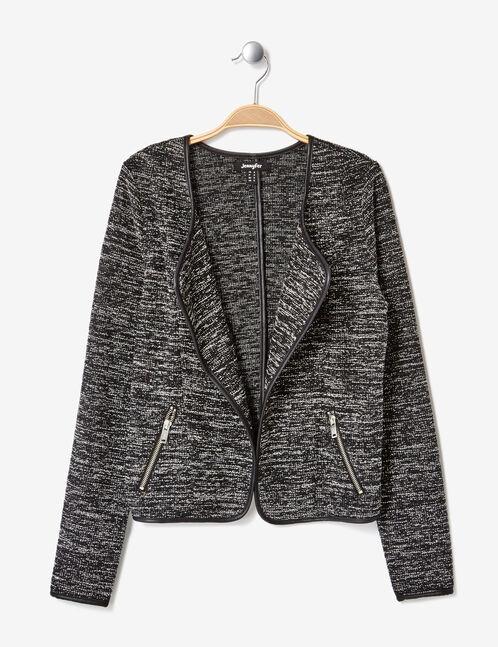 veste jetée moulinée noire et blanche