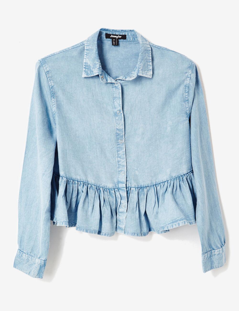 chemise courte avec volant bleu clair femme jennyfer. Black Bedroom Furniture Sets. Home Design Ideas