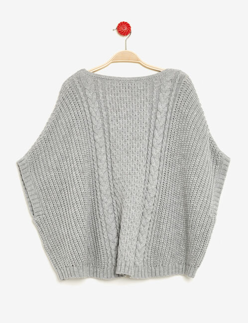 poncho maille fantaisie gris chiné