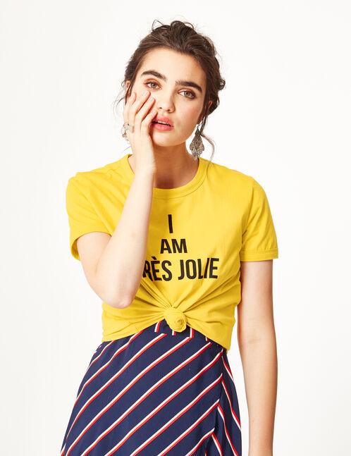 Ochre T-shirt with text design detail.