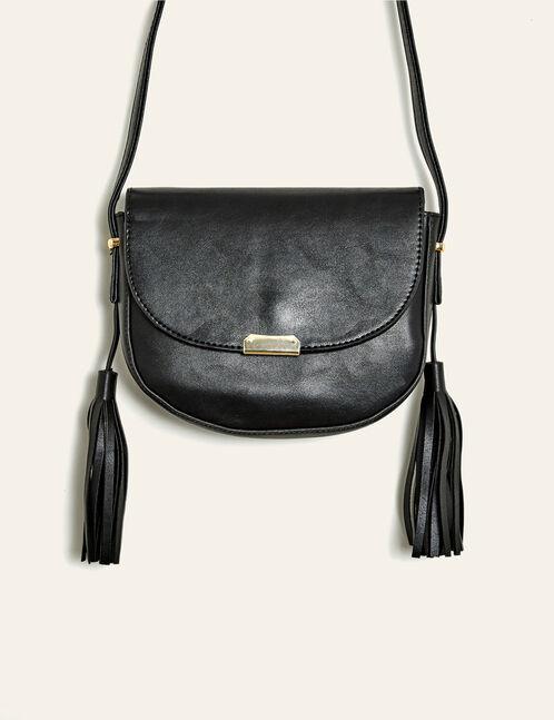Black saddlebag with pom pom detail
