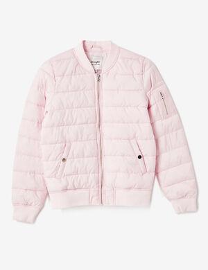 Product Doudoune légère femme, rose clair, style blouson bomber, 2 poches devant, 1 poches sur la manches, fermeture zippée, finitions bords côtes, manches longues.Marque Jennyfer Catégorie vestes + manteaux
