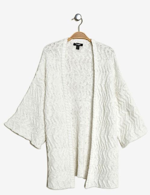 gilet kimono texturé écru