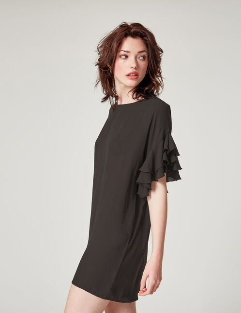 Black frilled sleeve dress