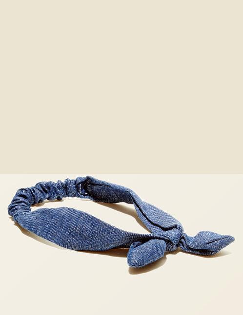 bandeau denim avec noeud bleu marine et argenté
