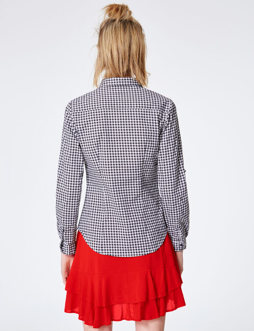 Black and white gingham-checked blouse