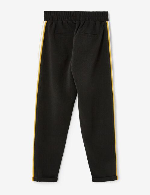 jogging rayures côtés noir, ocre et blanc