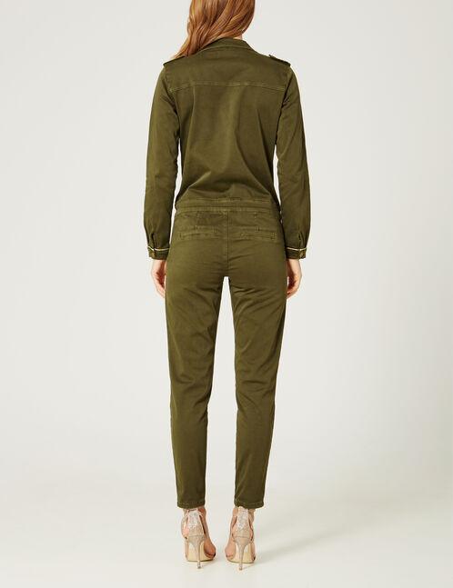 Khaki jumpsuit with charm detail