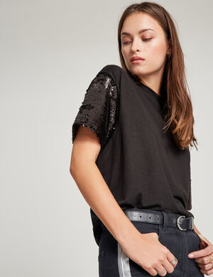 tee shirt manches sequins noir