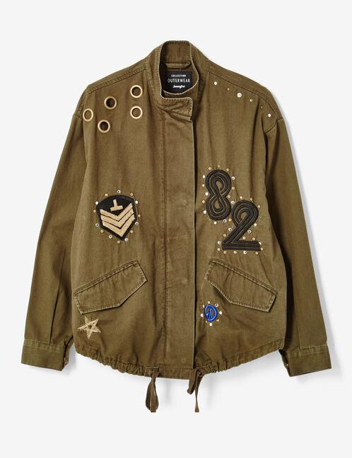 Khaki jacket with stud detail