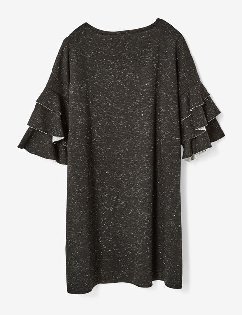 Charcoal grey marl and silver printed jersey dress