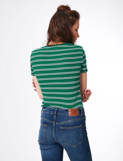 tee-shirt rayé vert, blanc et noir