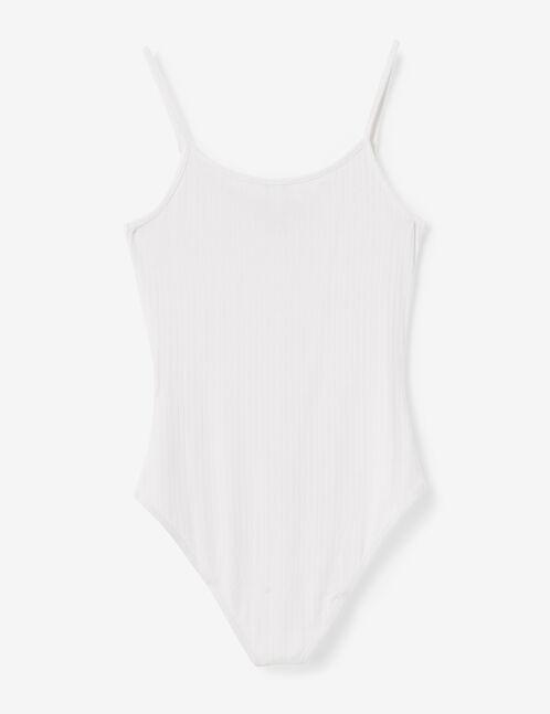 Cream bodysuit with strap detail