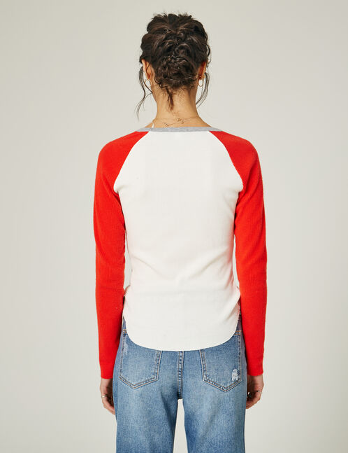 Cream and red vintage-look top