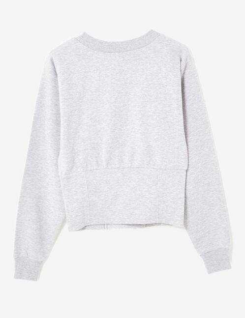 Grey marl corset-effect sweatshirt