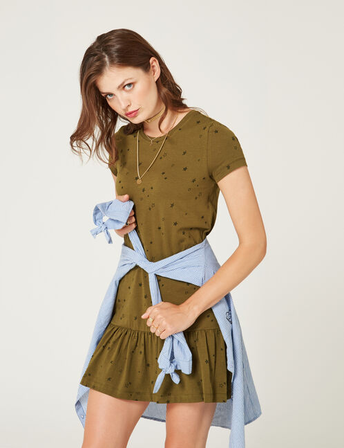 Straight khaki dress with frill detail
