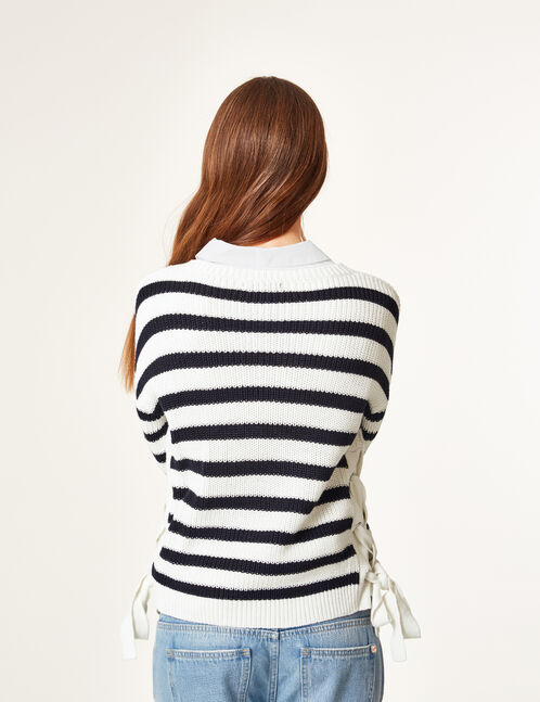 Cream and navy blue striped cropped jumper with lacing detail