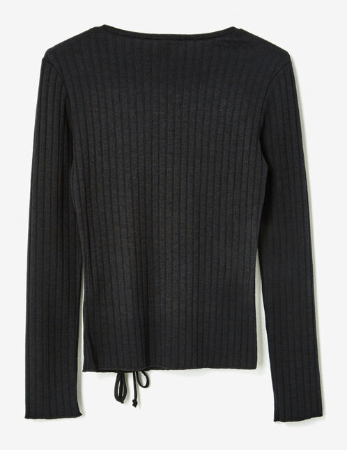 Black ribbed top with lacing detail