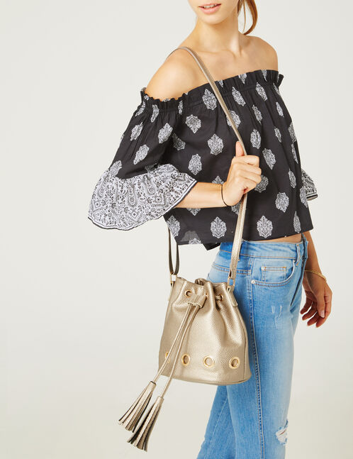 Gold bucket bag with eyelet detail