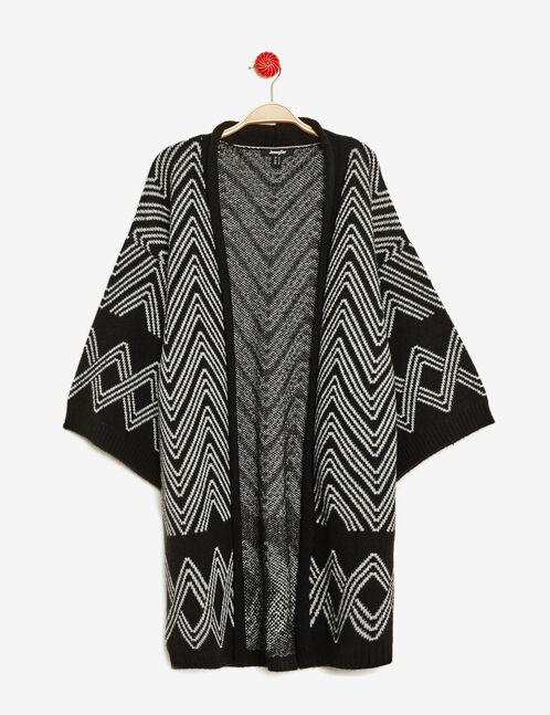 gilet long forme kimono noir et écru