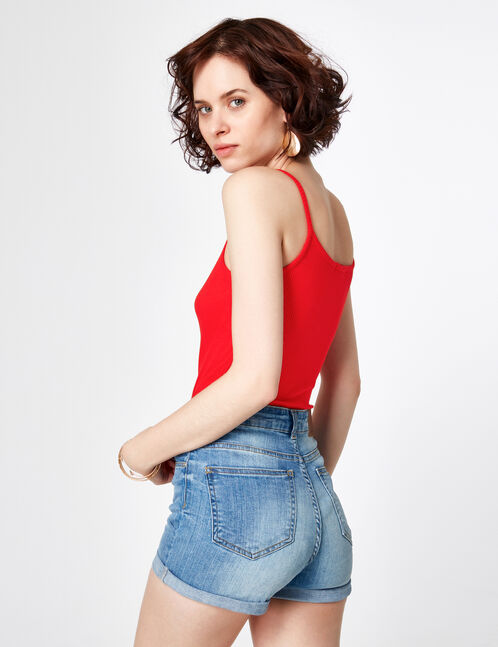 Red bodysuit with zip detail